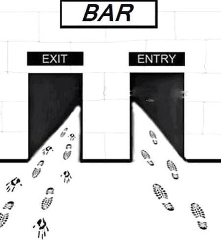bar,alcohol,entrance,too drunk,gutter,exit