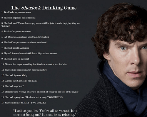 British Sherlock bbc drinking games
