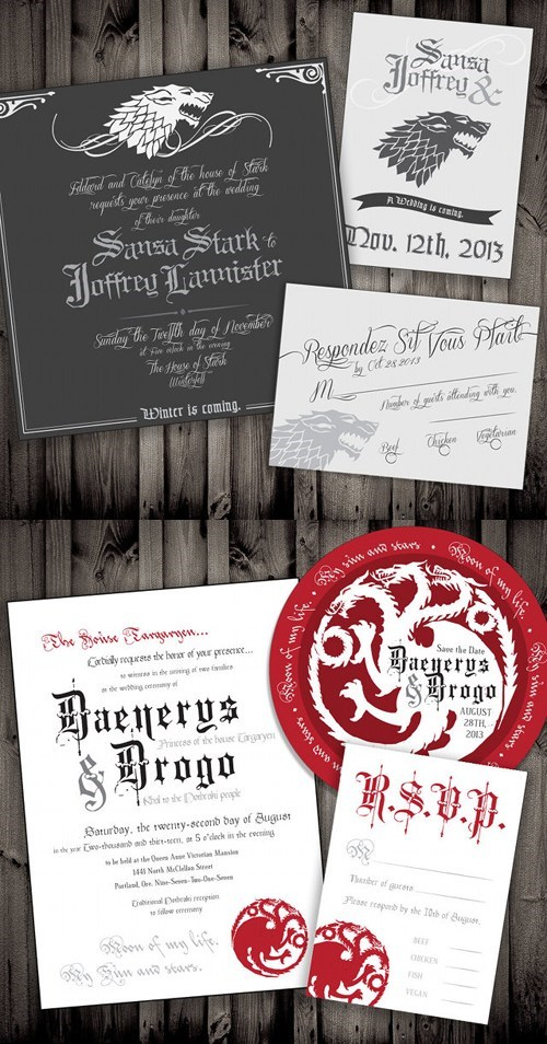 wedding invitations sansa stark Game of Thrones invitations Fan Art joffrey baratheon Khal Drogo weddings Daenerys Targaryen