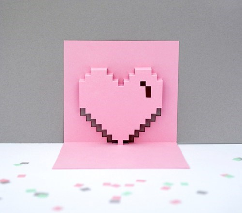 heart 3d pixels paper valentine DIY card craft