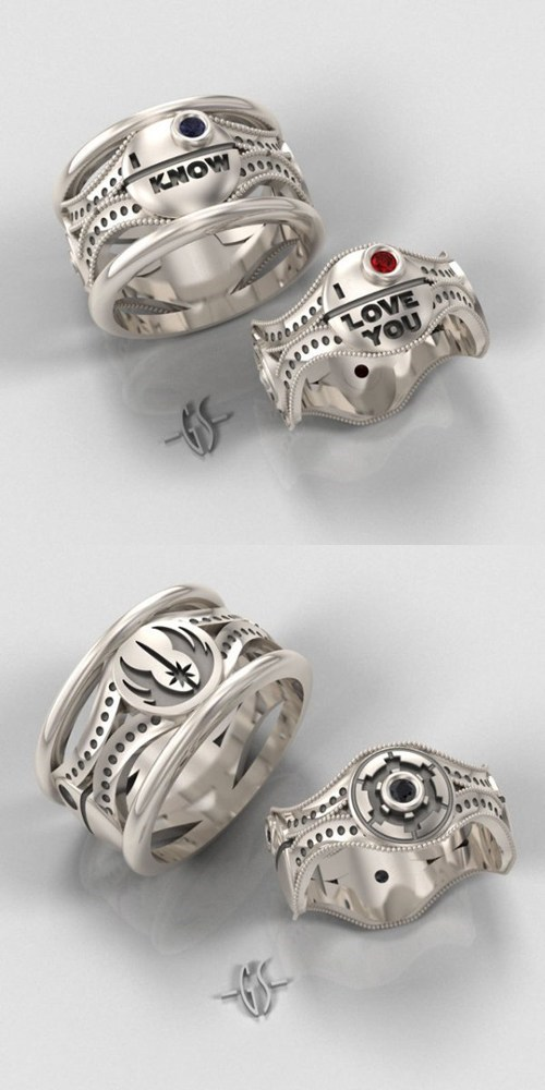 Star Wars Wedding Rings Set Phasers To Lol Sci Fi Fantasy