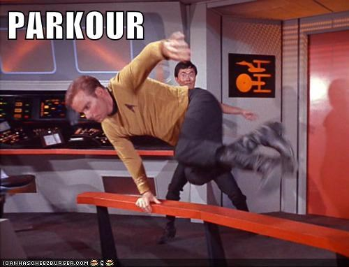 parkour,Captain Kirk,Star Trek,William Shatner,sulu,george takei