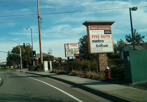 sign,restaurant,five guys,business