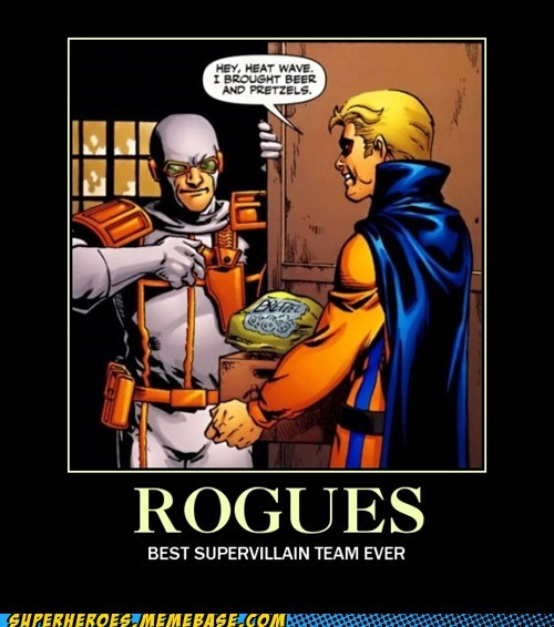 rogues,pretzels,super villains,booze