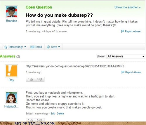 Traffic Jam,dubstep,yahoo answers,funny