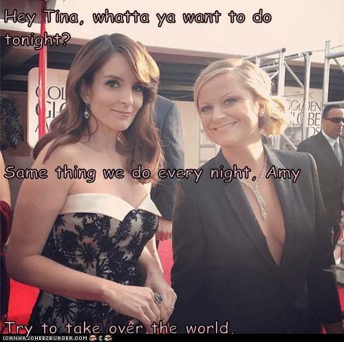golden globes,pinky and the brain,tina fey,Amy Poehler,take over the world