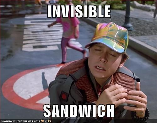 back to the future,sandwich,invisible,eating,michael j fox,marty mcfly