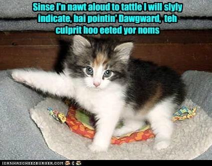 Sinse I'n nawt aloud to tattle I will slyly indicate, bai pointin' Dawgward, teh culprit hoo eeted yor noms