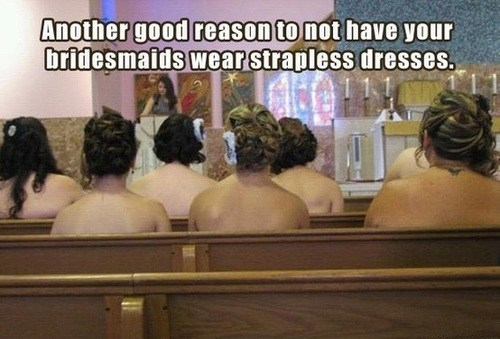 naked strapless bridesmaids church topless pews - 7004133120