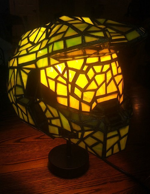 lamp,stained glass,master chief,video game,halo,glass,light