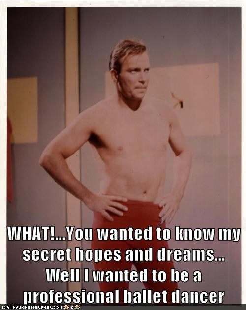 Captain Kirk,shirtless,ballet,Star Trek,William Shatner