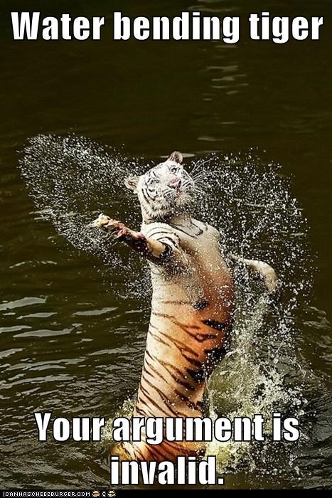 dancing,tigers,water,your argument is invalid,water bending