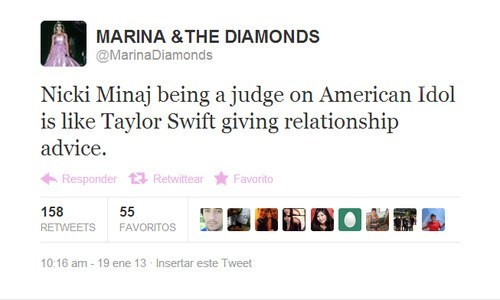 taylor swift,marina and the diamonds,twitter,nicki minaj,American Idol