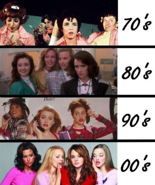 now vs then girl cliques clueless mean girls the heathers grease - 7004552704