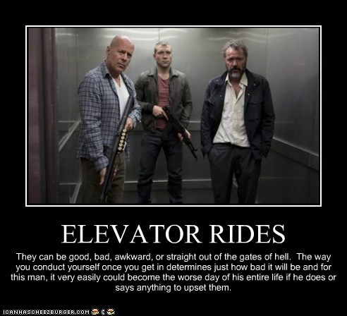 ELEVATOR RIDES They can be good, bad, awkward, or straight out of the gates of hell. The way you conduct yourself once you get in determines just how bad it will be and for this man, it very easily could become the worse day of his entire life if he does or says anything to upset them.