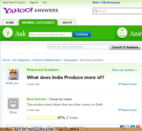 yahoo answers,production,india