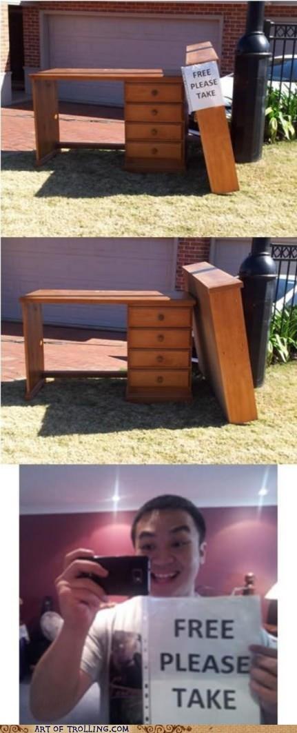 furniture,sign,self pic,free