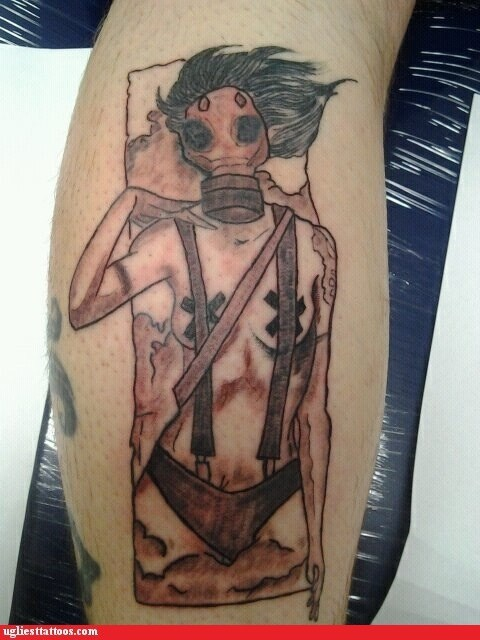 leg tattoos gas mask suspenders