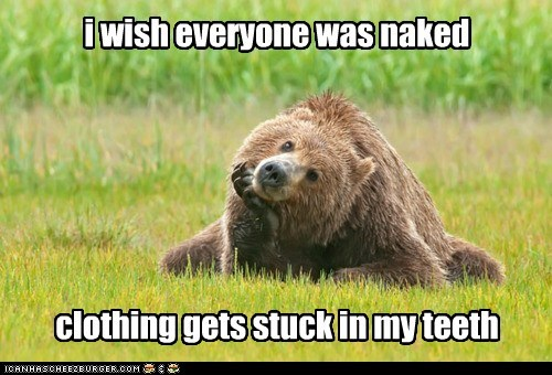 bears stuck teeth thinking wish clothes