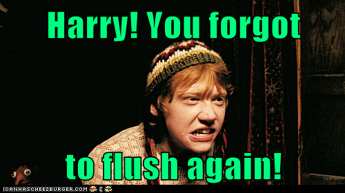 Harry Potter flush rupert grint toilet angry Ron Weasley roommates - 7008028672