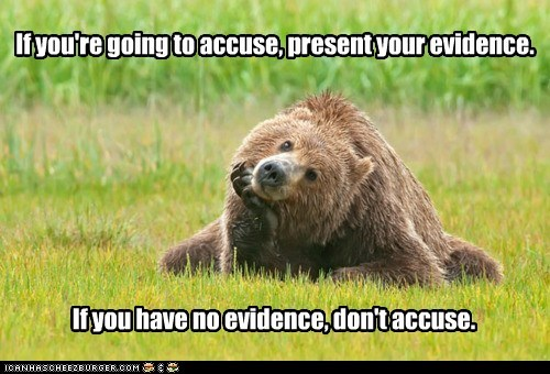 evidence,accusing,bears,waiting,puns