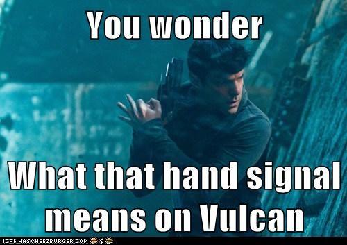 Spock hand signals Zachary Quinto Vulcan Star Trek star trek into darkness - 7009648640