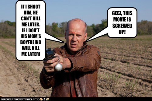 bruce willis,screwed up,confused,time travel,looper
