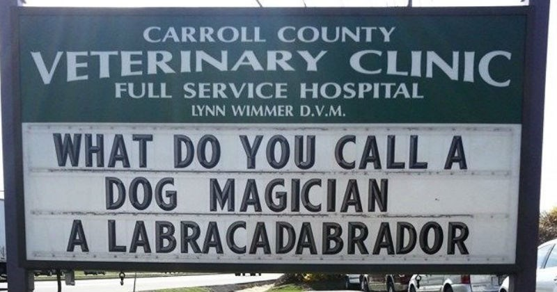 funny vet sign with joke about a dog magician