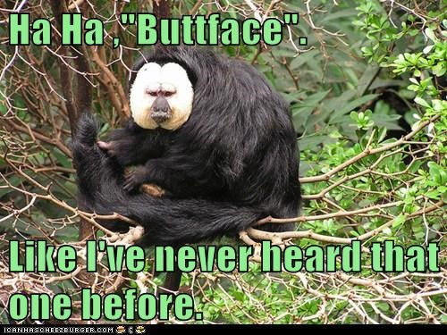 "Ha Ha ,""Buttface"". Like I've never heard that one before."
