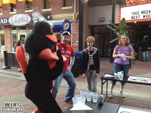 mascot,beer pong,orioles,funny