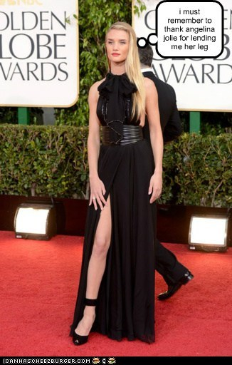 Angelina Jolie,golden globes,Rosie Huntington-Whiteley,thank,leg