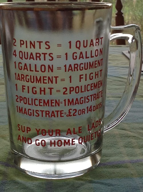 beer glass gallon funny measurement