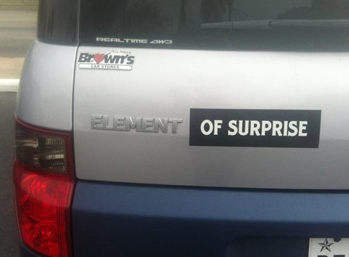 bumper sticker,element,cars,surprise
