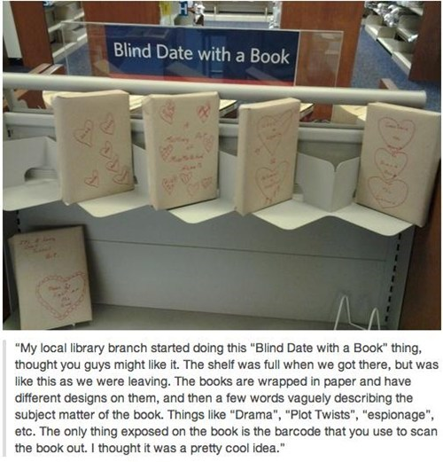 Photo of books wrapped to hide their titles as part of a library effort to get more people into reading by having blind-dates with books.