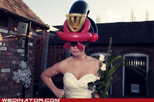 bride,Movie,Balloons,comic book,judge dredd,hat