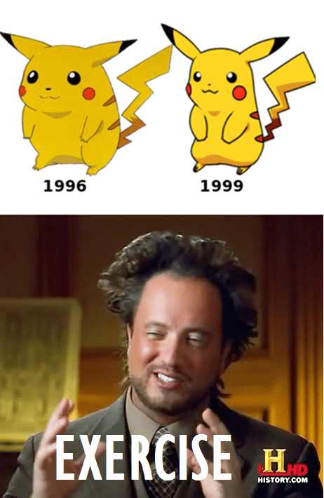 Aliens exercise pikachu lost weight