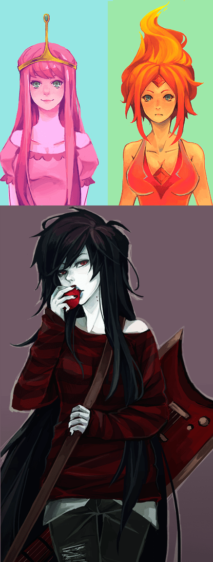 Fan Art,flame princess,princess bubblegum,marceline the vampire queen,adventure time