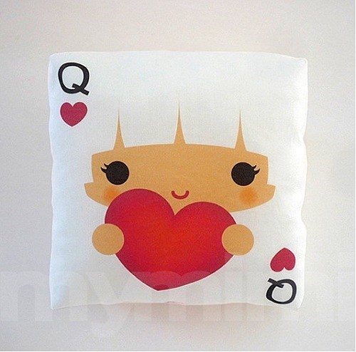 Pillow print kawaii cover queen of hearts - 7014197504
