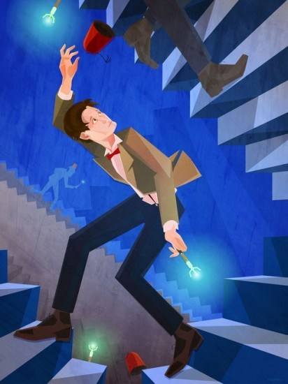 sonic screwdriver,mc escher,Fan Art,stairs,FEZ,the doctor matt smith,labyrinth