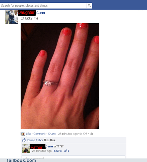 facebook official,ring,engagement,daughter,Father