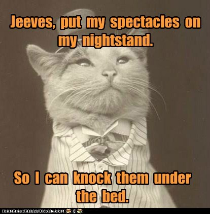 Jeeves, put my spectacles on my nightstand. So I can knock them under the bed.