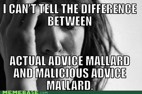 Actual Advice Mallard malicious advice mallard colorblind - 7015347712