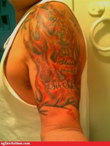 arm tattoos,flames