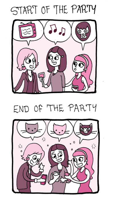 talk drunk friends socialize Party comic Cats