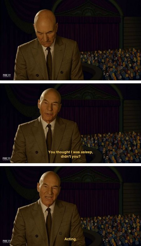 acting,patrick stewart,TV,sleeping