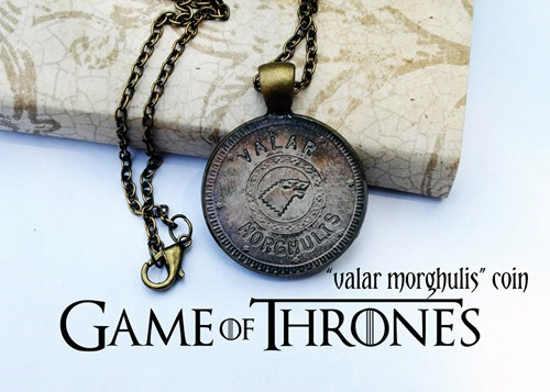 coin,Game of Thrones,necklace,Jewelry,valar morghulis,pendant