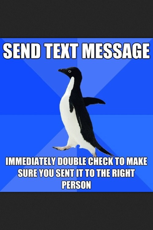 socially awkward penguin text message be certain - 7017226496