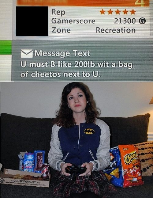 xbox live,gamers,message,idiots,gamer girls,cheetos