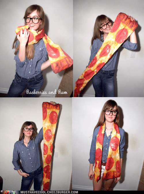 food garment scarf print pizza - 7017460992