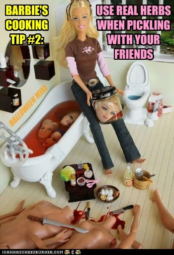 BARBIE'S COOKING TIP #2: USE REAL HERBS WHEN PICKLING WITH YOUR FRIENDS HALLOWEEN MIKE